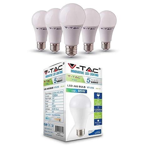 V-TAC - Bombilla LED termoplástica A65 de 15 W (85 W),