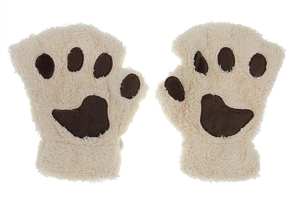 Cute Cat Bear Paw Fingerless Gloves Polar Fleece Half FInger Winter Warm Gloves With Detachable string RUIXIB