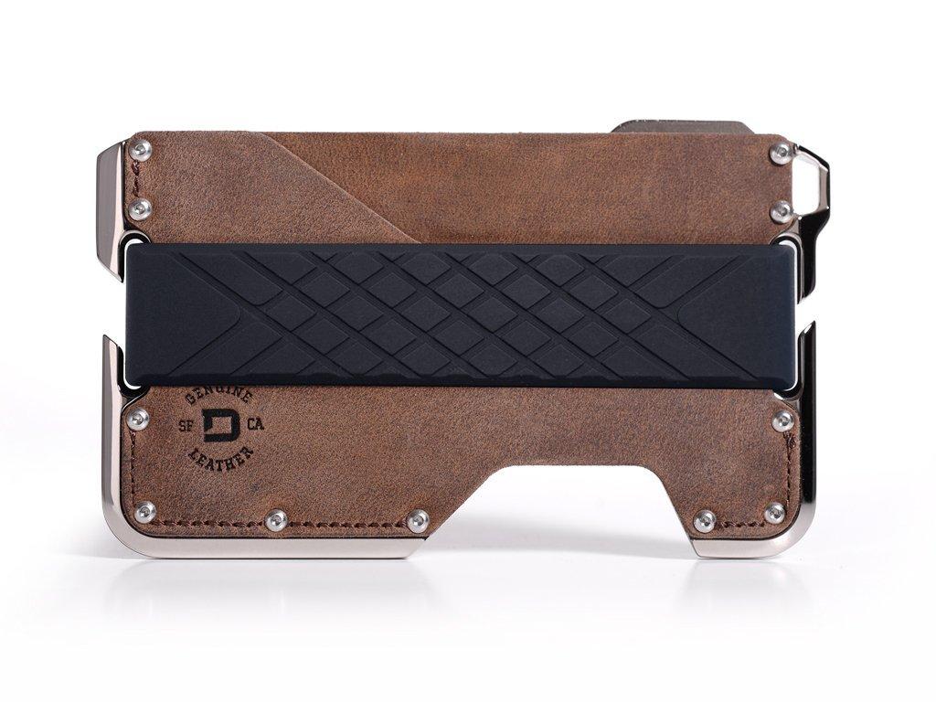 Dango Dapper 2 EDC Wallet - Made in USA - Genuine Leather, Nickel-Plated CNC-Machined Aluminum, RFID Blocking, 2 Oz.