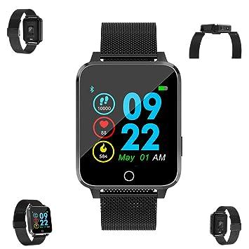 WLH Relojes Inteligentes Presión Arterial Hombres Mujeres Reloj Inteligente Corazón,blacksteel: Amazon.es: Deportes y aire libre