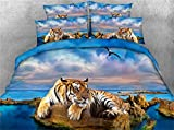 Ftyfty Luxury 3d Bedding Set 3D Yellow Tiger and Blue Ocean Eagle Digital Print 100% Cotton Boys Bed Sheet Set 4PCS Duvet Cover Set (Blue, King)