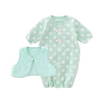 da6b852d4d819 ニシキ スウィートガール ベスト付きドット新生児ツーウェイオール P5290 50-60cm グリーン