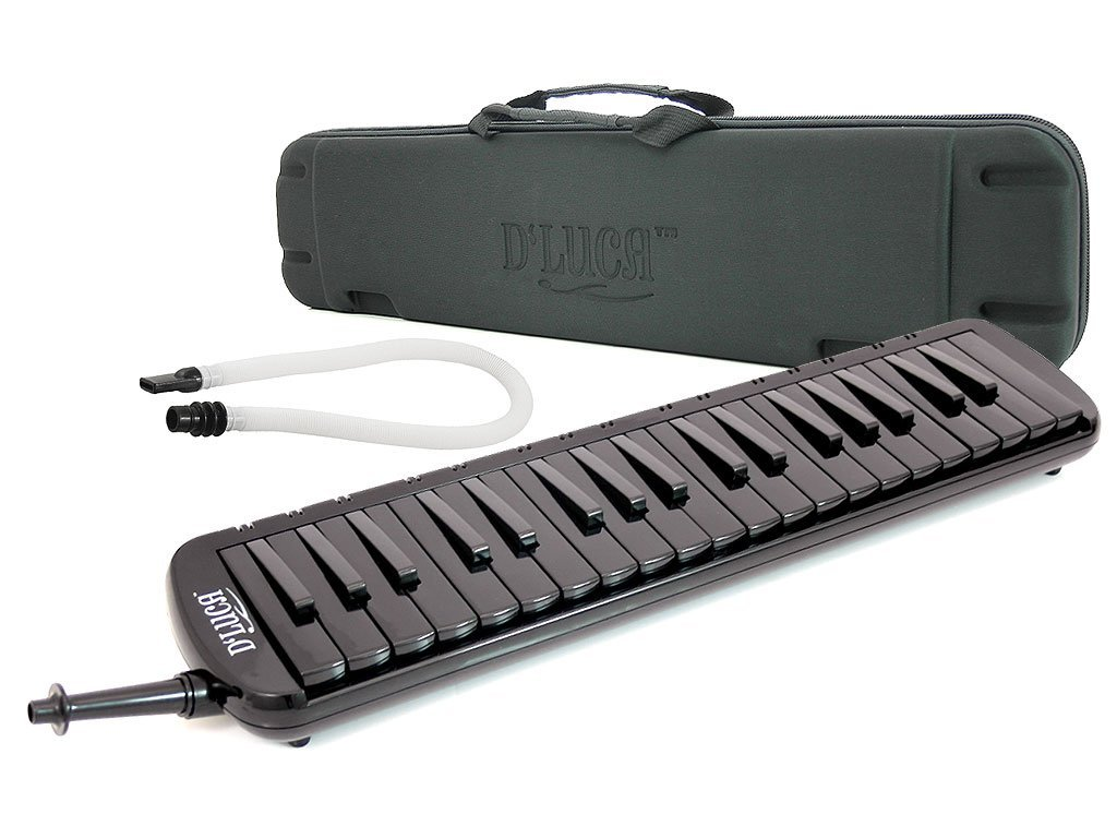D\'Luca M37-EVA-BK Black 37 Key Jungle Melodica with EVA Carrying Case D'Luca