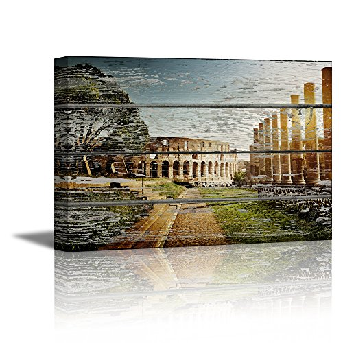 Colosseum in Rome on Vintage Wood Background Rustic ation