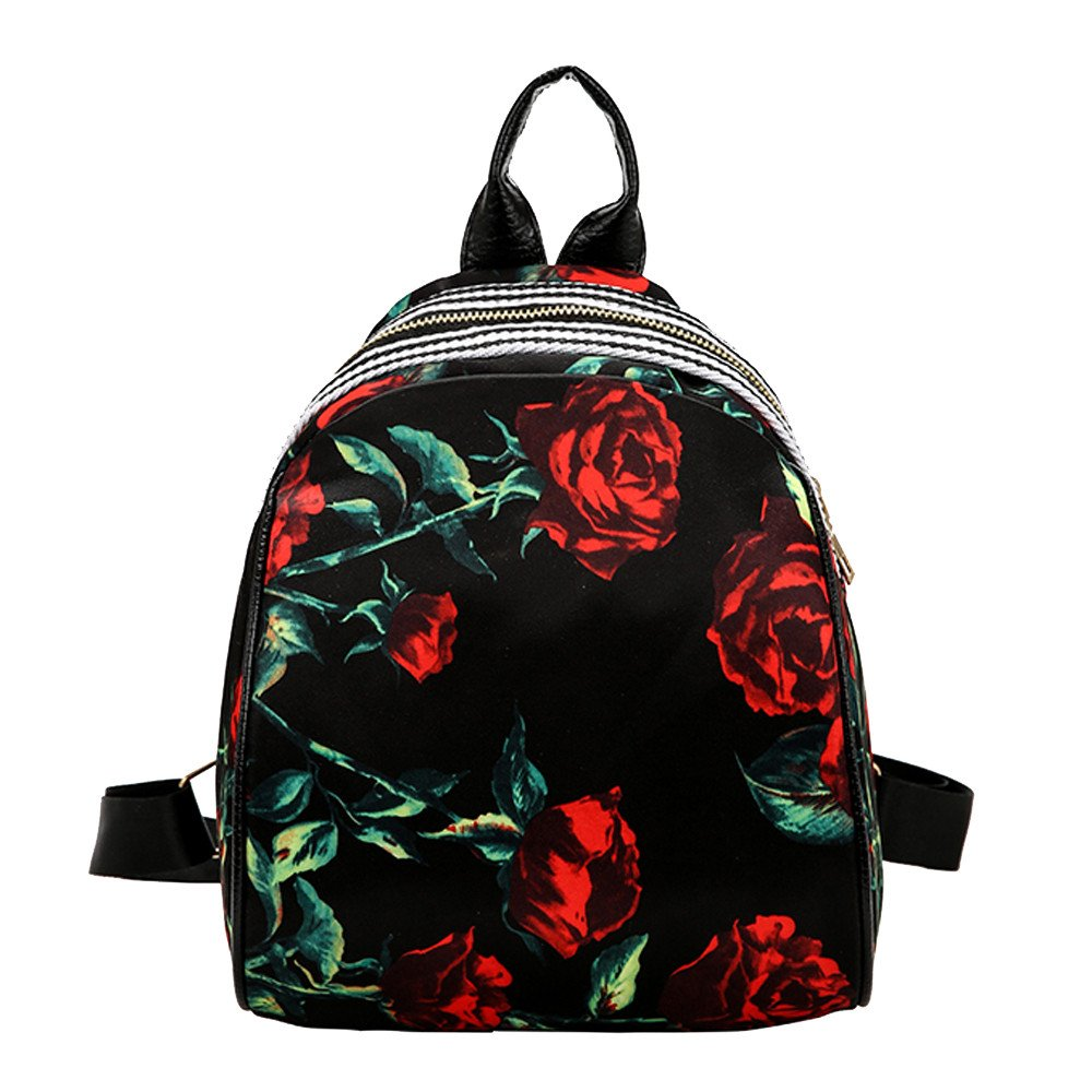 Canvas School Backpack Simple Flowers Printing School Bag Unisex Casual Rucksack Satchel Bookbag for Student/Travel/School/Sport (A)
