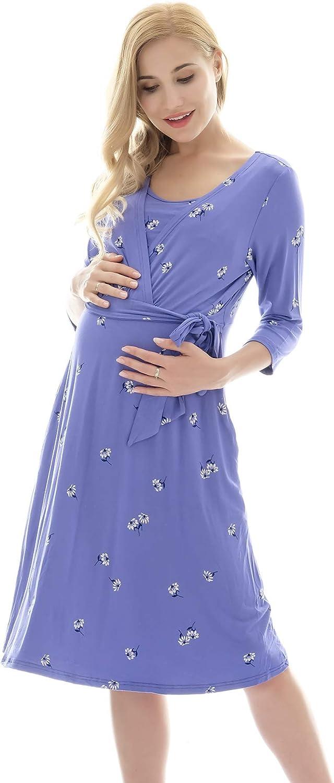 Bearsland Womens Floral Maternity Nursing Dresses Breastfeeding Clothes with Belt