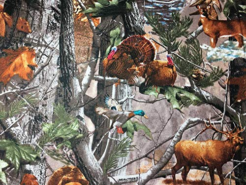 Drapes Lodge Rod Pocket (Forest Wildlife Animals Bear Deer Woodland Trees Cabin Lodge Handcrafted Cotton Valance)