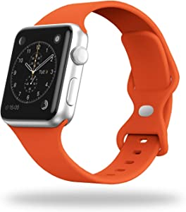 STG Smart Watch Band Compatible with Apple Watch Band 38mm 40mm 42mm 44mm, Soft Silicone Replacement Sport Strap Compatible for iWatch SE Series 6/5/4/3/2/1 (38/40mm, Orange)
