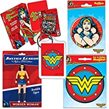 PopShoppes Wonder Woman Justice League PopBox Deluxe Set (Bendable Figure, Playing Cards, Magnet, Button and Acrylic Keychain) Cool Value!