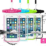 Waterproof Phone Case, Firstbuy 4 Pack Universal Waterproof Pouch Dry Bag With Neck Strap Luminous Ornament for Water Games Protect iPhone X 8 7 6 6s Plus 5s Galaxy S7 S6 Edge Note Google Pixel LG HTC