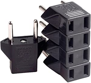 Conwork 10-Pack US USA to EU Euro Europe Power Jack Wall Plug Converter Travel Adapter