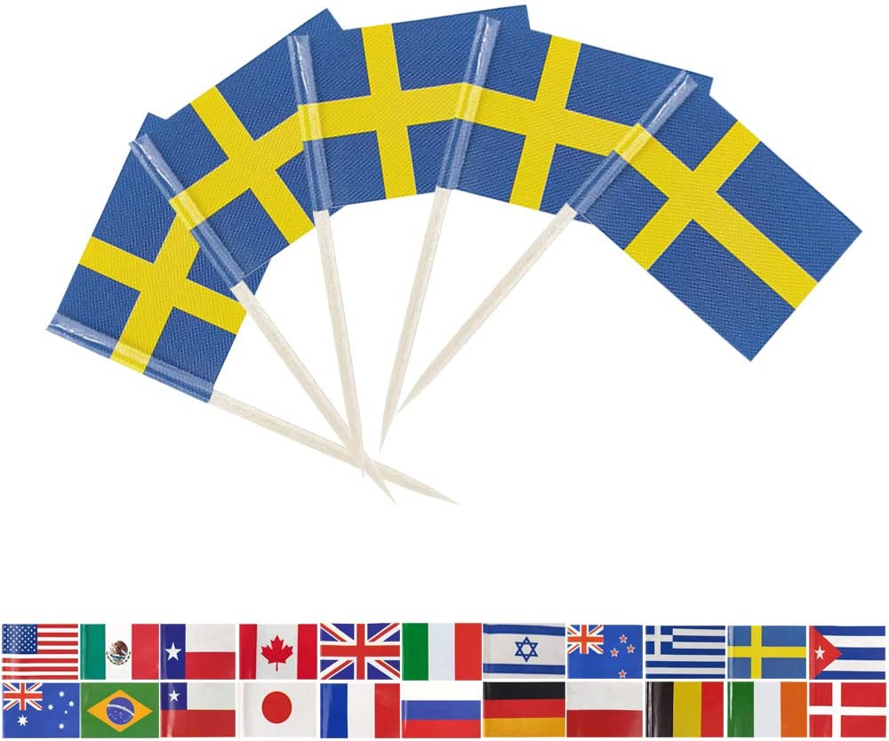 Tectsia Europe Country Swedish Toothpick Flag, Sweden Flags, 100 Pcs Cupcake Toppers Flag, Small Mini Stick Flags Picks Party Decoration Celebration Cocktail Food Bar French Cake Flags