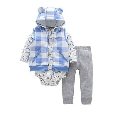 YanHoo Conjuntos de Ropa para bebés niño Conjunto de Chaqueta de vellón con  Capucha de Cardigan a01568fe17b