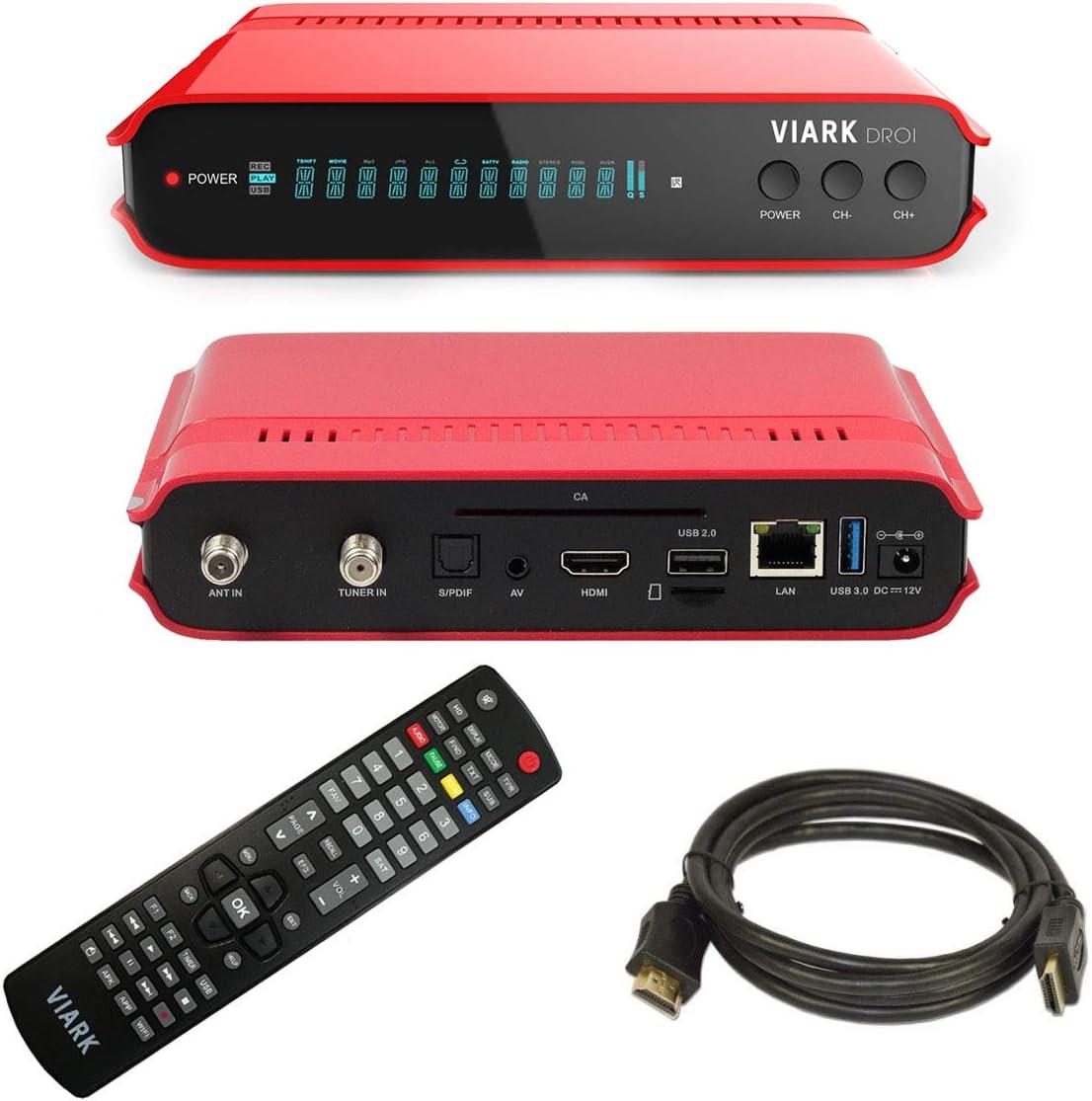 VIARK DROI Receptor TV satélite 4K DVB/S2 y T2 H265, Android 7.0 ...