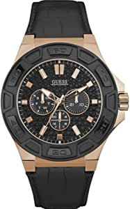 Guess Force Watch for Men - Analog, Leather Strap - W0674G6
