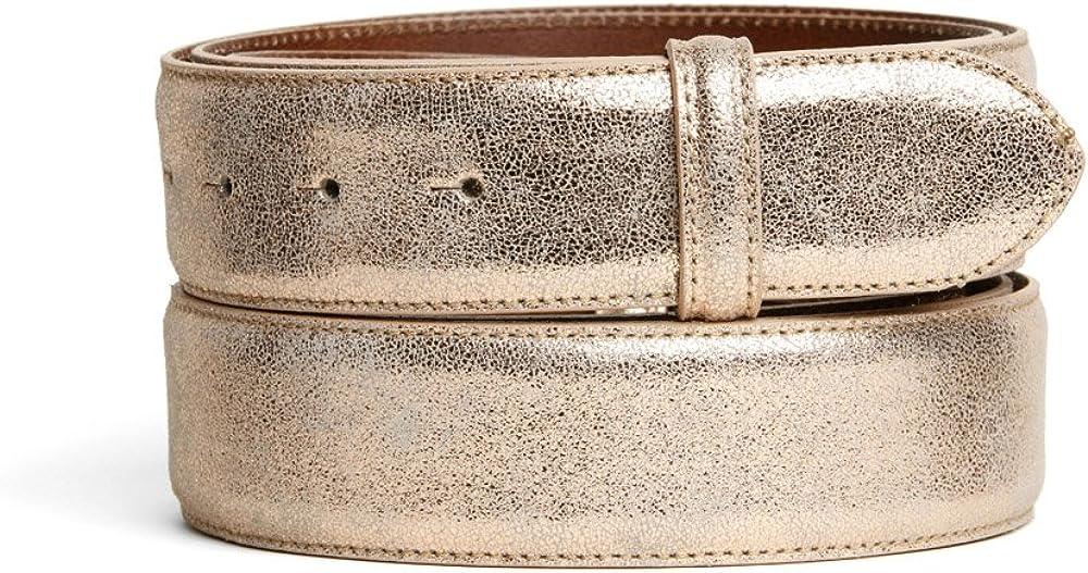 VaModa Belt, Cinturón en piel, modelo Newbury, color copper claro, sin hebilla
