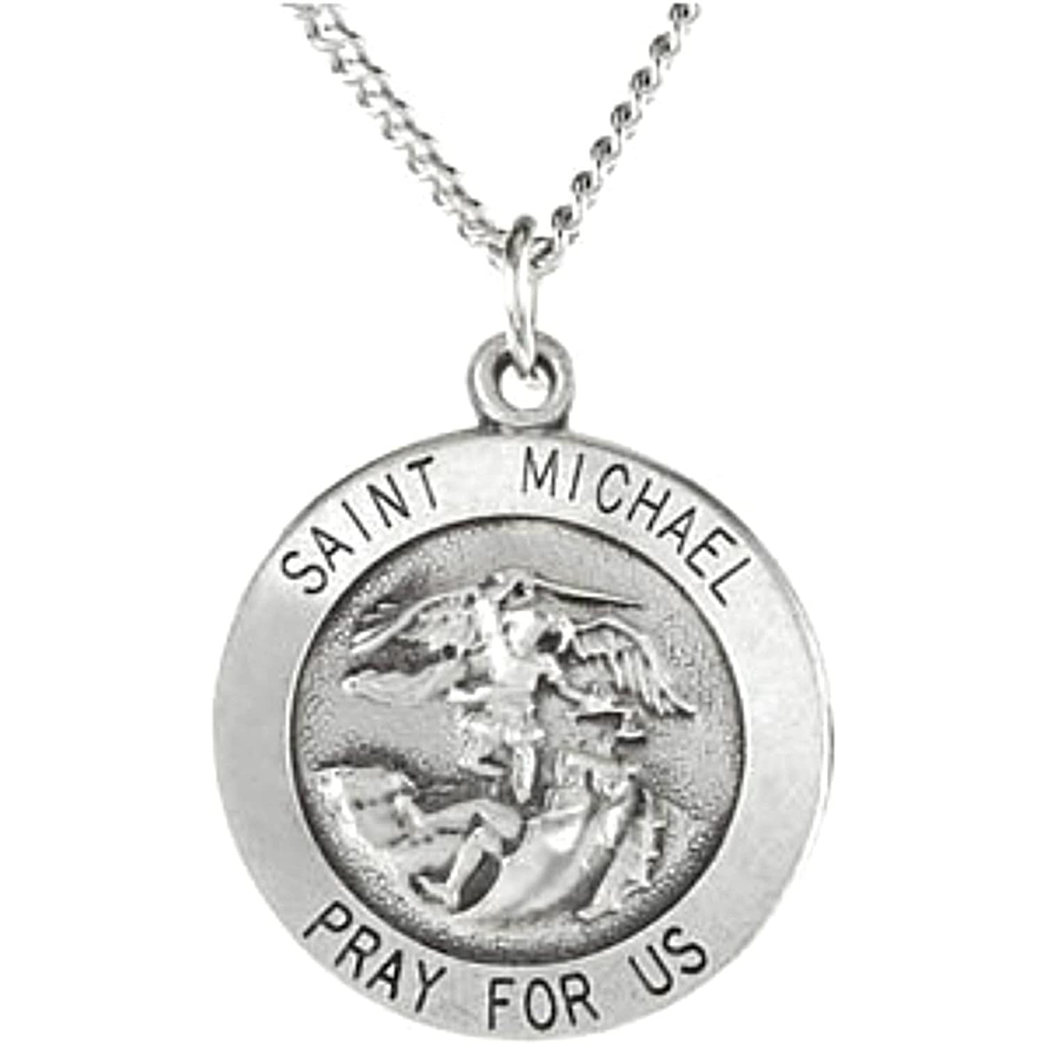 Amazon sterling silver st michael medal necklace 18 15 mm amazon sterling silver st michael medal necklace 18 15 mm the mens jewelry store private collection jewelry aloadofball Images