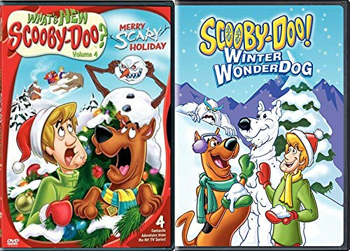 Festive Frights Scooby Christmas What's New Scooby-Doo? Merry Scary Holiday + Scooby Doo Winter Wonderdog HANNA BARBERA Double Feature Animated cartoon DVD 2-pack (Bah A Humduck Christmas Looney)