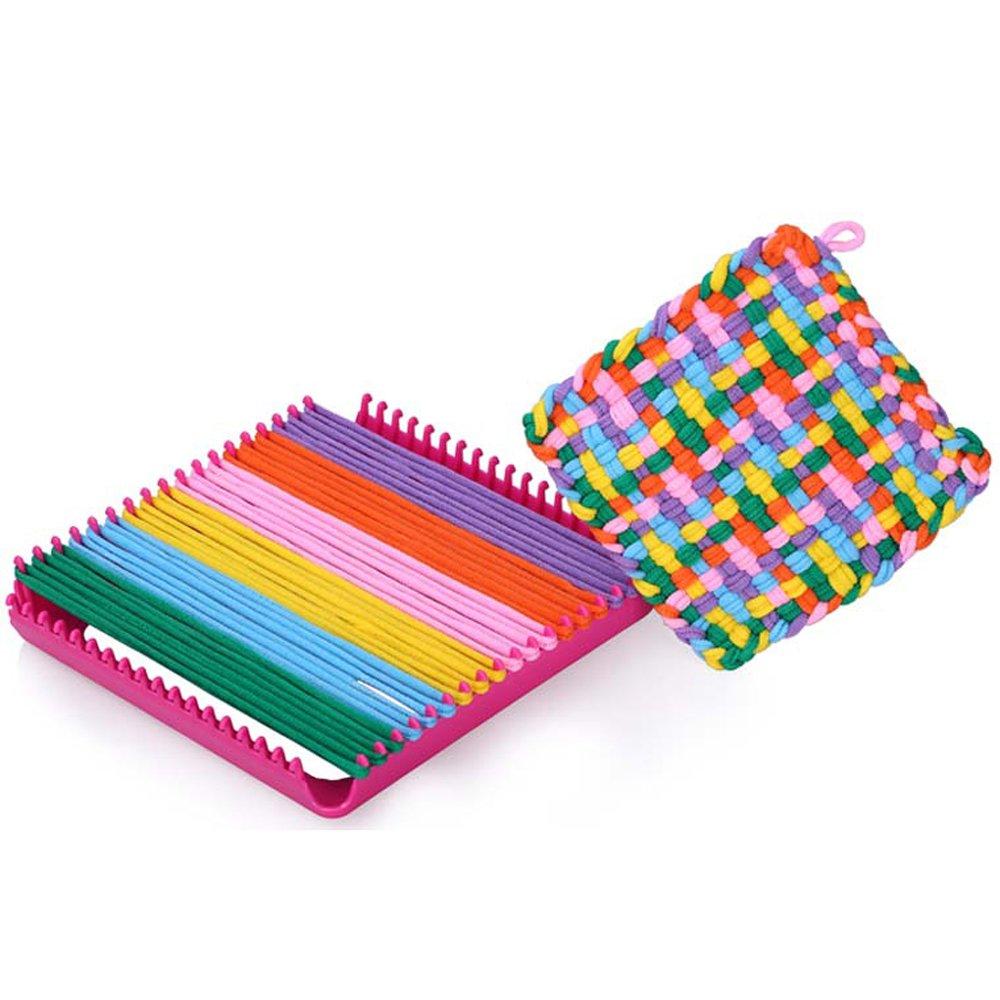 Funwill 7'' Craft Loop Weave Loom Toy Yarn Craft Set Deluxe Loom Kit, Makes 5 Potholders