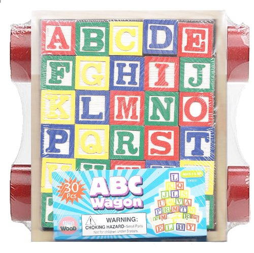NM HM975-3 Abc Stack N' Build Wagon Blocks with Learning Pictures Kids Toy (30 Piece) (Stack Alphabet)