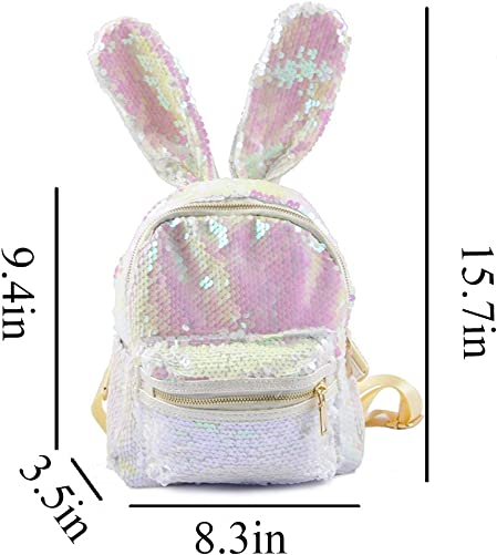 Women Cute Rabbit Ears Backpack Sequins Shoulder Bag Travel Daypack