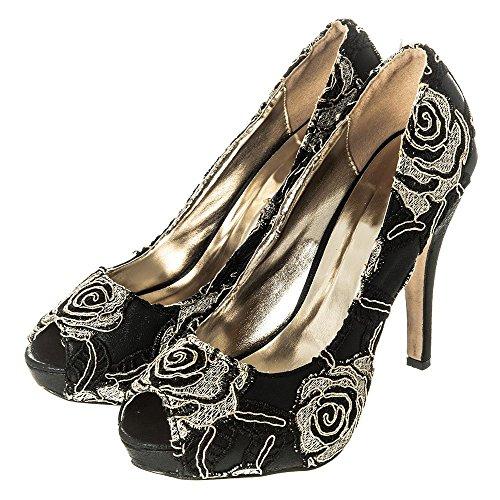 Talon Satin Femmes 4 Ouvert Du Noir Bout Taille 8 6 Des Haut 5 3 Brodé Motif Chaussures 7 XHqUUw