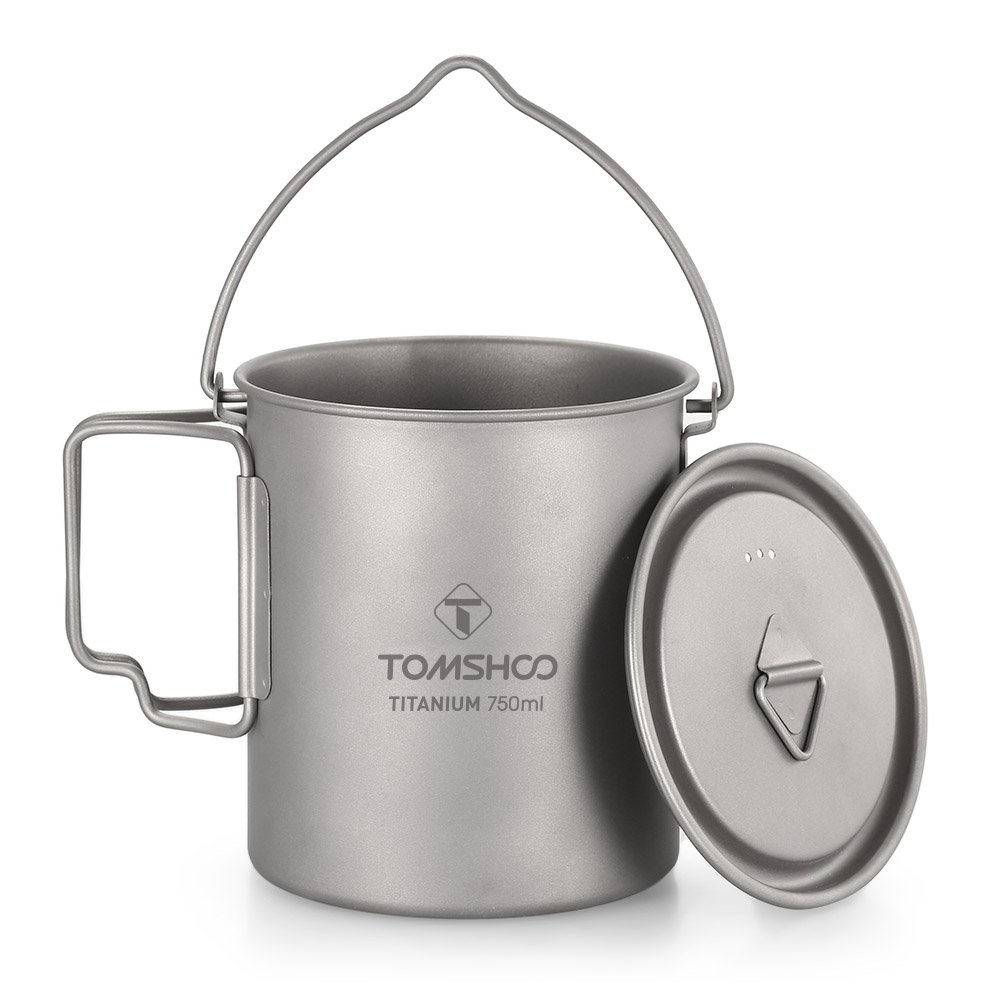 TOMSHOO Titanium Camping Stove Titanium Cup Mug Pot Compact Durable Portable Camping Cookware Mess Kit with Pot Spork Pan Water Bottle(Optional) (Titanium Pot 750ml-1) by TOMSHOO