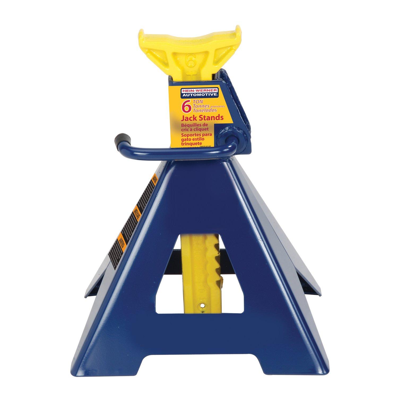 Hein-Werner HW93506 Blue/Yellow Jack Stands, 6 Ton Capacity (Set of 2) by Hein-Werner