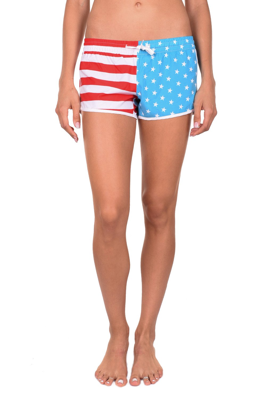 Tipsy Elves Women's Summer Beach Shorts (Medium, American Flag)