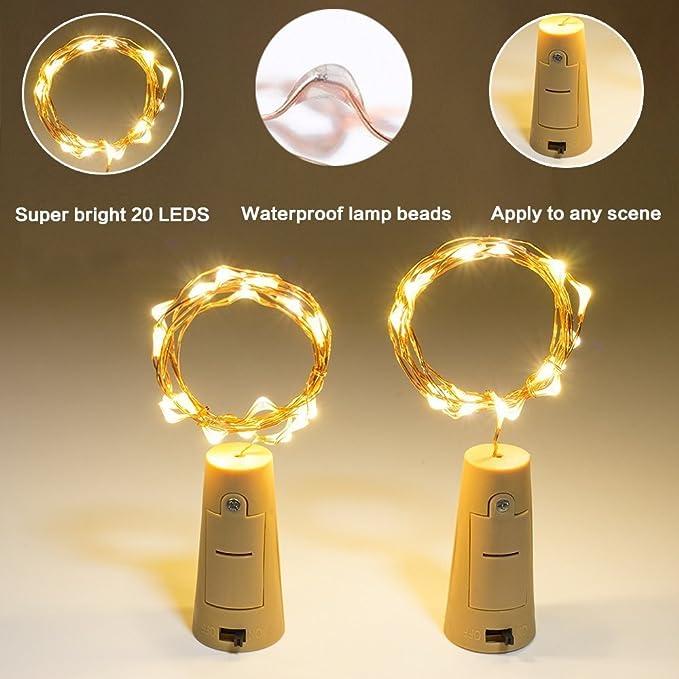 6 pieza luz Botella Cadenas de luz LED blanco cálido 78 in botellas Luz alambre: Amazon.es: Iluminación
