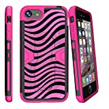 "MINITURTLE Case Compatible w/ Apple iPhone 7 Plus | iPhone 8 Plus Pink Case (5.5"") [MAX DEFENSE] Hybrid Heavy Clip Case w/ Stand + Tempered Glass [iPhone 7 Plus Zebra Case] Pink Zebra"