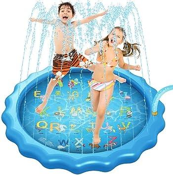 Splash Alfombra de Juego, Splash Pad de riego for Niños Agua Splash Pad con Juguete Cartas