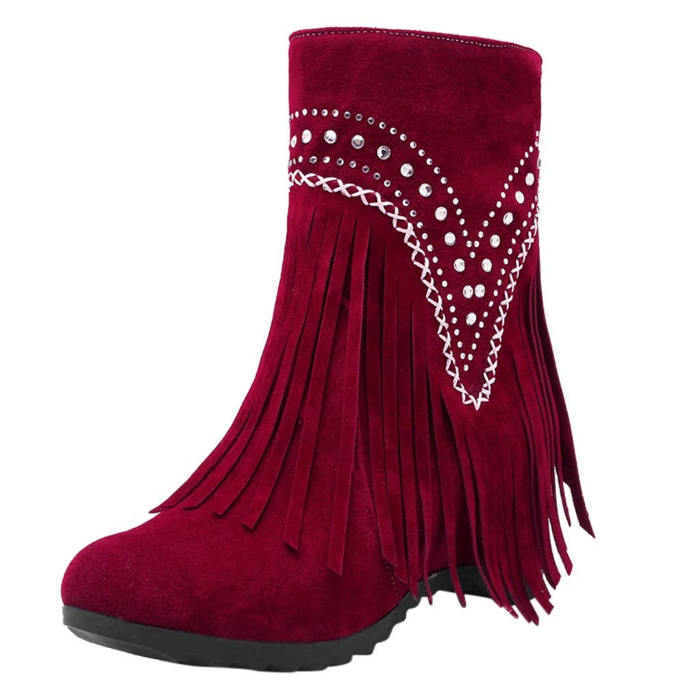 Shusuen Fringe Ankle Boot Western Cowboy Bootie Women Retro Ankle Boots Red by Shusuen_Shoes