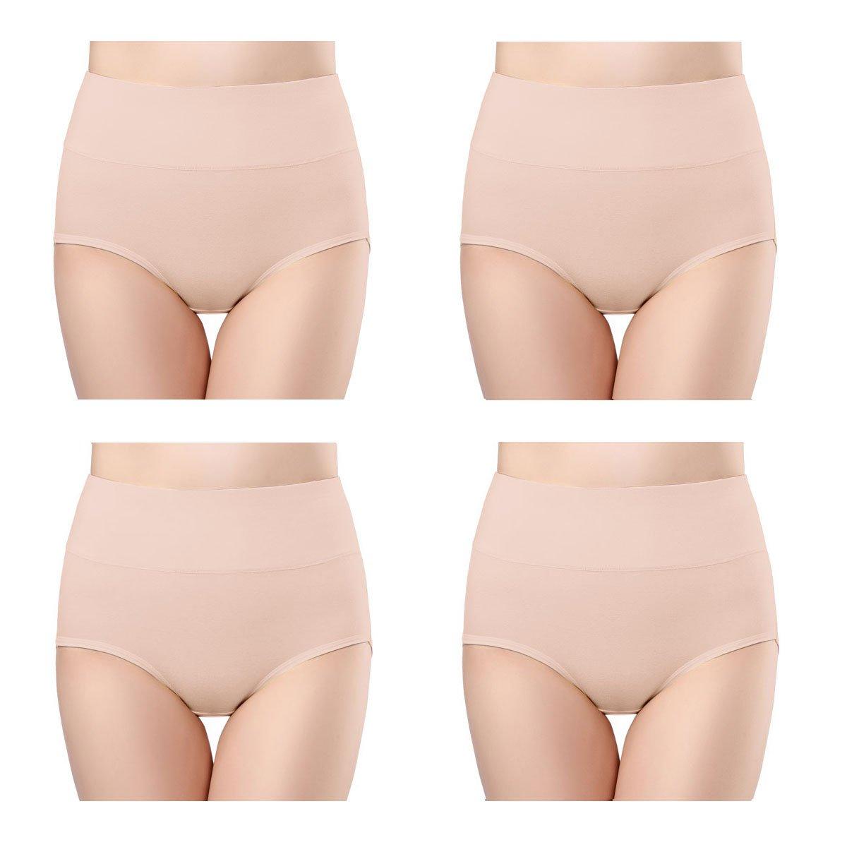 e3ab3cb7b452 wirarpa Womens Cotton Stretch Underwear 4 Pack High Waisted Briefs  Postpartum No Muffin Top Ladies Plus Size Underpants Beige, Size 9