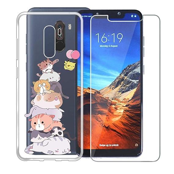 new arrivals 14fb8 b81a4 Amazon.com: Xiaomi Pocophone F1 Case + Screen Protector Tempered ...