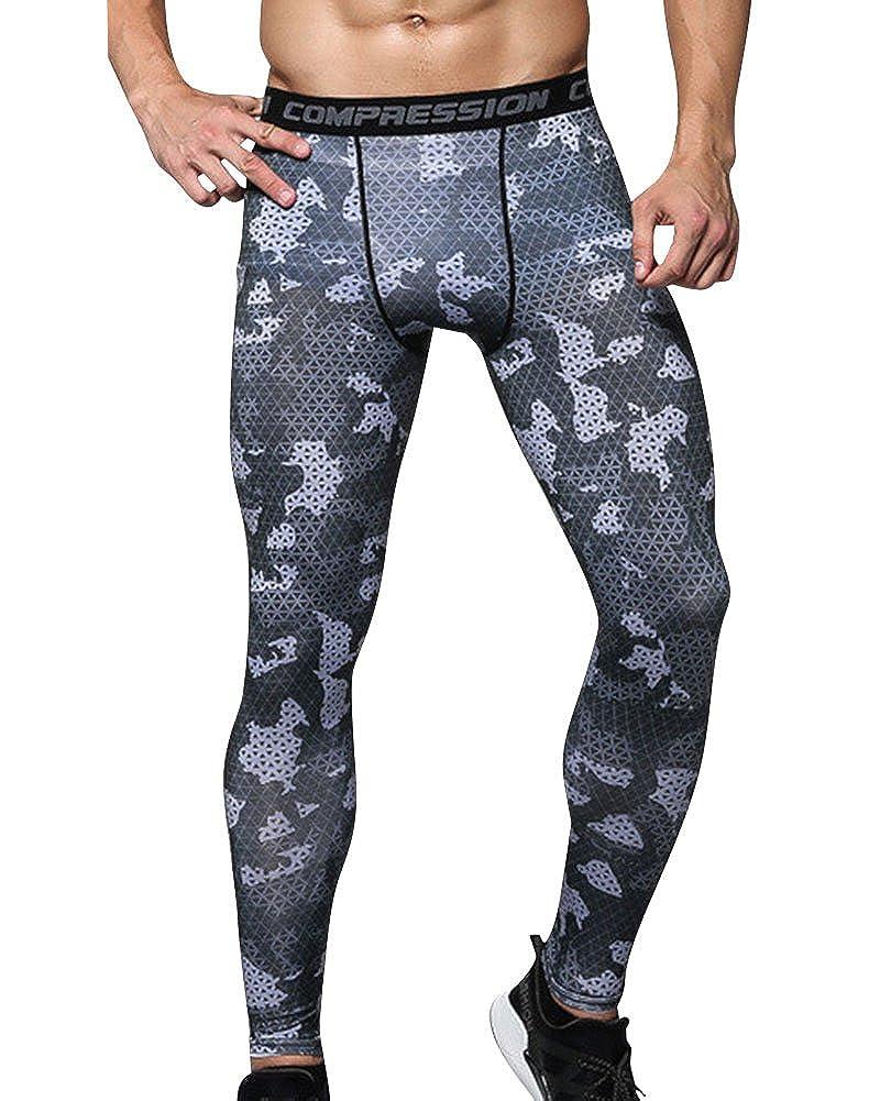 Uomo Sportivi Leggings a Compressione Base Strato Termico Fintess Pantaloni
