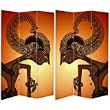 Oriental Furniture Tall Double Sided Wayang Shadow Puppet Canvas Room Divider, 6'