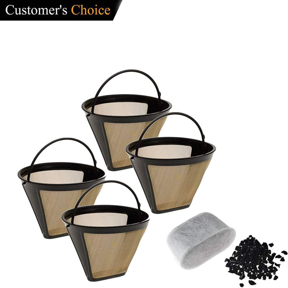 2 Pack Gold Coffee Filter with 6 Charcoal Water Filters Cone Style Universal Fit Refillable Single Cup Coffee Filters Stainless Steel Mesh Filte Washable Reusable for Cuisinart Machines and Brewers Sweetdecor
