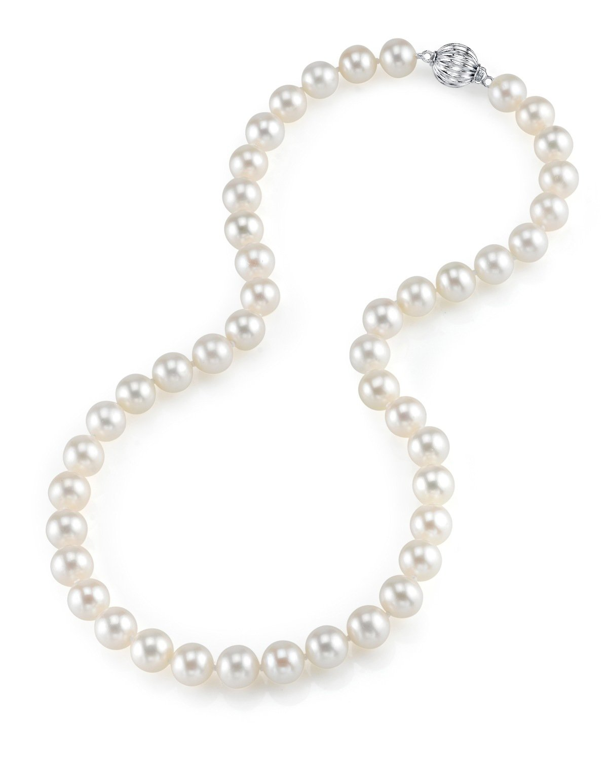 THE PEARL SOURCE 14K Gold 8-9mm AAAA Quality White Freshwater Cultured Pearl Necklace for Women in 18'' Princess Length