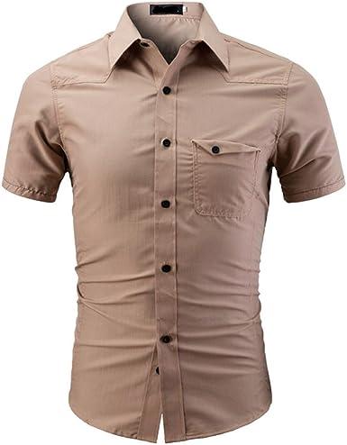 STRIR Hombre Camisa a Slim Manga Corta Button Down Camisa Shirt: Amazon.es: Ropa y accesorios