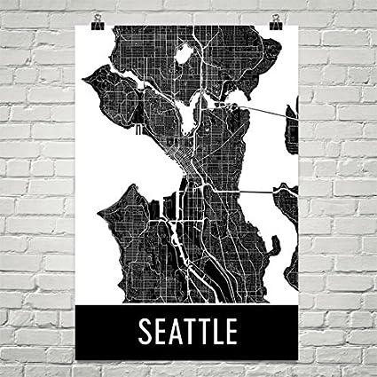 Amazon Com Modern Map Art Seattle Poster Seattle Art Print