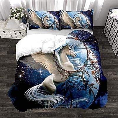 3D Unicorn Duvet Quilt Cover Set Animal Kids Bedding Pillowcase Single Double