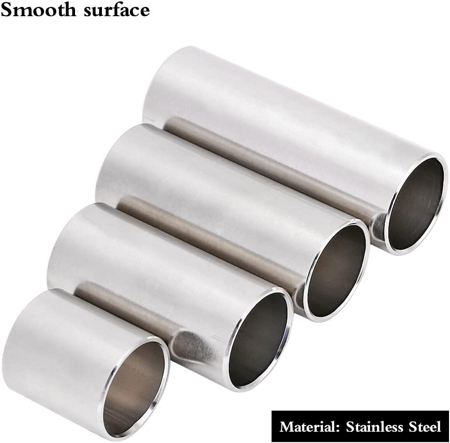 Guitar Slide Tone Bar for Electric Guitar,Folk Guitar,Bass,Mandolin and Banjo 4pcs Cylinder Tube Stainless Steel