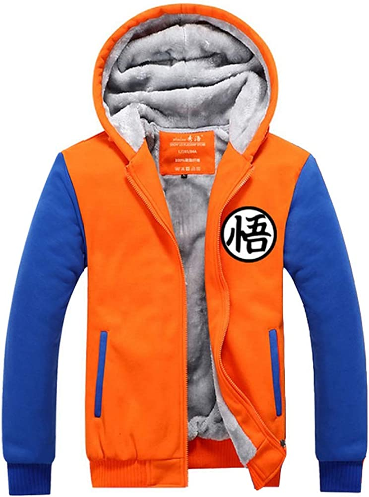 Dragon Ball Z Son Goku Wu Word Hoodie Fleece Anime Jacket Warm Coat Sweatshirt