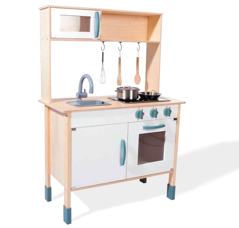 Kinderholzküchen mit Funktionen - Freda Spielküche mit leuchtenden KOchplatten