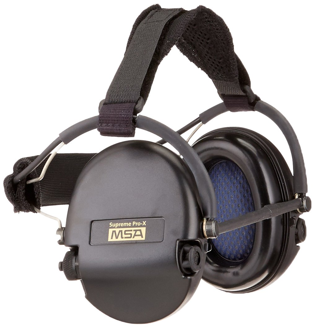 MSA Safety 10082166 Supreme Pro-X Earmuff with Black Neckband, Black Cups