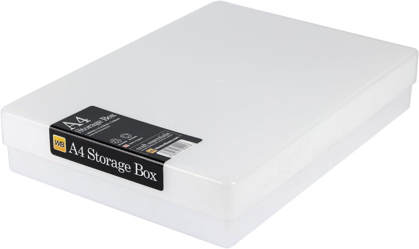 WestonBoxes - Caja de almacenamiento A4 para papel A4 y manualidades (Blanco, Paquete de 10): Amazon.es: Oficina y papelería