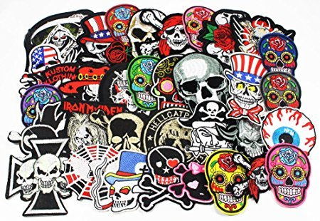 24pcs/lot Mixed 5-12cm Iron-on Embroidered Patches Skull Style Appliques (Random Mixed Colors 4)