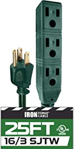 25 Ft Extension Cord with 3 Electrical Power Outlets - 16/3 SJTW Durable Green Cable - Great for Powering Christmas Decorations
