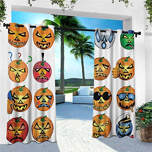 leinuoyi Halloween, Outdoor Curtain Panel Design, Carved Pumpkin with Emoji Faces Halloween Inspired Humor Hipster Monsters Artwork, for Patio Waterproof W108 x L96 Inch Orange]()